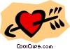 Vector Clipart image  of a Heart with arrow