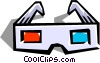 Vector Clip Art picture  of a 3-D glasses
