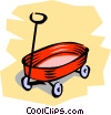 Vector Clip Art picture  of a Kid's red wagon