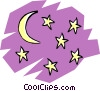 Vector Clipart graphic  of a Moon & stars