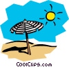 Sunny day at the beach Vector Clip Art graphic
