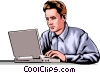 Man with laptop computer Vector Clipart picture