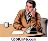 Vector Clip Art image  of a Man with phone