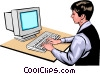 Vector Clipart graphic  of a Woman at computer