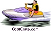 Vector Clipart graphic  of a Person on personal watercraft