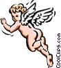 Vector Clip Art image  of an Angel flying