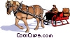 Horse drawn sleigh Vector Clip Art picture