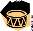 Vector Clip Art graphic  of a Woodcut drums