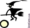 Vector Clip Art image  of a Witch on a broomstick