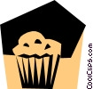 Woodcut muffin Vector Clipart illustration