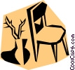 Vector Clip Art graphic  of a Woodcut chairs