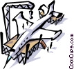 Jet plane under construction Vector Clipart illustration