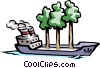 Vector Clipart graphic  of a Cargo Ship