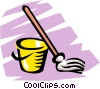 Vector Clip Art graphic  of a Mop & pail
