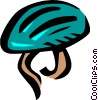 Vector Clip Art image  of a bike helmets