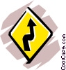 Winding road sign Vector Clipart illustration
