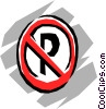 Vector Clip Art graphic  of a No-parking sign
