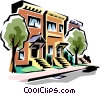 Vector Clip Art image  of a Townhouses