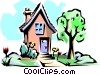 Vector Clipart graphic  of a House in spring