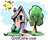 House in summer Vector Clipart illustration