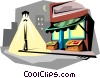 Corner store at night Vector Clipart image