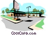 Vector Clipart picture  of a Strip mall