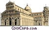 Baptistery Cathedral and Leaning Tower of Pisa Vector Clip Art graphic