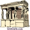 Porch of the maidens Vector Clip Art picture