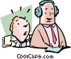 Vector Clip Art graphic  of a Falling on deaf ears