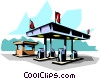 Vector Clip Art image  of a Gas station