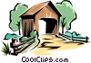 Vector Clip Art graphic  of a Covered bridge