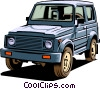 Vector Clip Art graphic  of a 4-wheel drive vehicle