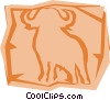 Vector Clip Art image  of a Water buffalo