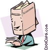 Vector Clipart picture  of an A walking book