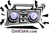 Vector Clip Art graphic  of a Portable stereos