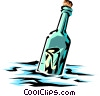 Message in a bottle Vector Clipart illustration