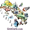 Vector Clip Art picture  of a Florida vignette map