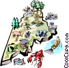 Vector Clipart graphic  of a Maine vignette map