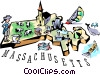 Massachusetts vignette map Vector Clipart illustration