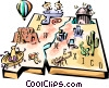 New Mexico vignette map Vector Clip Art picture