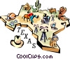 Texas vignette map Vector Clipart picture