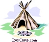 Vector Clip Art image  of a Indian teepee