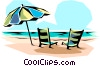 Beach chairs Vector Clip Art graphic