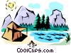 Mountain scene Vector Clip Art graphic