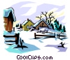Vector Clipart illustration  of a Winter scene