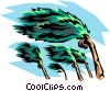 Vector Clip Art graphic  of a Hurricane winds and palm tree