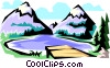 Mountain scenes Vector Clipart picture
