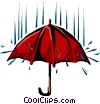 Umbrella and rain Vector Clipart graphic