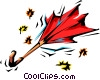 Vector Clip Art image  of a Wind swept umbrella and leaves