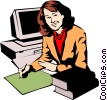 Vector Clipart image  of a Woman working at computers
